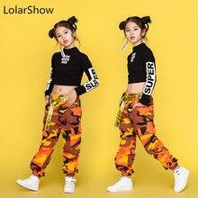 Danza para niñas Negro Tops de manga larga pantalones de camuflaje de los niños  Hip Hop traje de los niños de la calle Ropa de b. 3f034ffb6bd