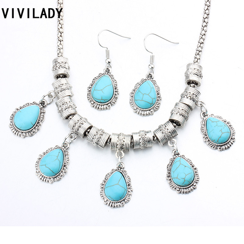 VIVILADY Vintage Silver Color Jewelry Sets Women Water Drop Natural Blue Stones Necklaces Earrings Femme Party Accessories Gifts