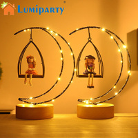 LumiParty Lovely Girls Moon Shape LED Desk Lamp Fairy Lights Bedroom Nightlights Resin Craft Toy Decoration