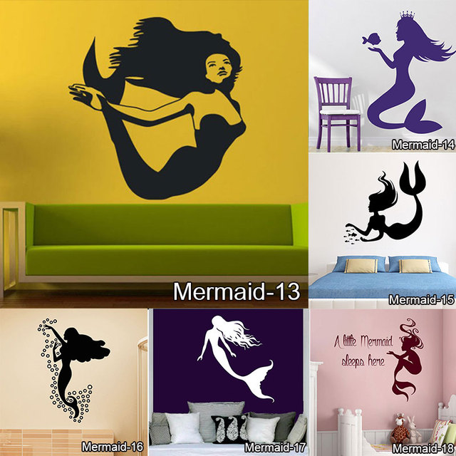 mermaid home decoration wall stickers home decor bathroom decal sticker wall decorative sticker wall decals for