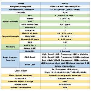Image 4 - LOMOEHO AM 08 4 MONO + 2 สเตอริโอ 8 ช่องBluetooth USBอินเทอร์เฟซคอมพิวเตอร์บันทึก 48V Phantom Professional DJ Mixer