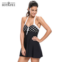 Hotapei Black White Polka Dot One Piece Swimdress LC41923