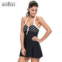 Hotapei Black White Polka Dot One Piece Swimdress LC41923