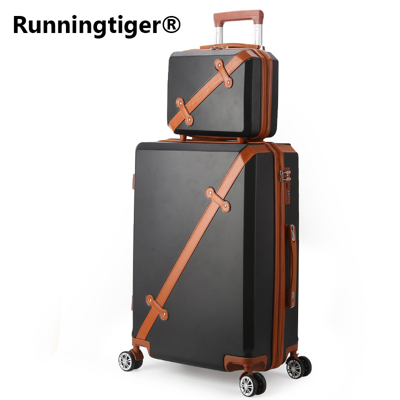 Vintage Rolling Luggage Bag Wheeled Travel Case 20 28Women's Trolley Case Men's Universal Wheel ABS Hardcase Box Carry On bags