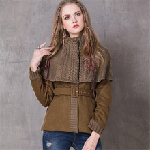 High Quality Women Vintage Warm Coat Winter Women  New Wool Coats Long Sleeve Knit Shawl Splice Woolen Coat Belted Slim jacket