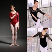 Collant de balé Adulto Médio de Alta Qualidade de Manga Rendas Ballet Traje de Dança Ginástica Leotards do Desgaste da Dança das Mulheres