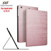 Case For Ipad Mini 1 2 3 Tri Fold Smart Cover Ultra Slim Wooden PU Leather