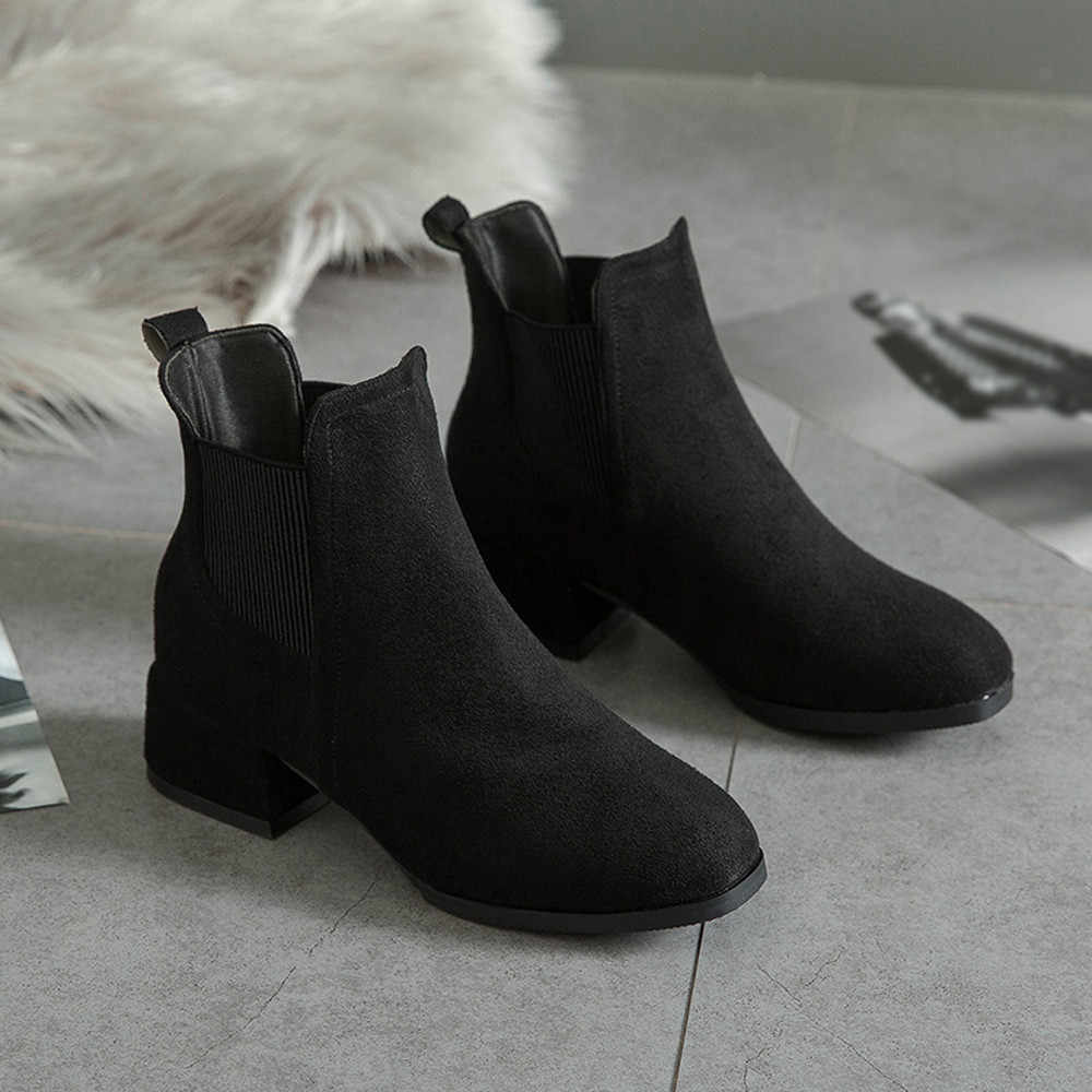 7653071b8fa ... YOUYEDIAN Winter Boots women 2018 Black Ankle Boots For Women Thick  Heel Slip On Ladies Shoes
