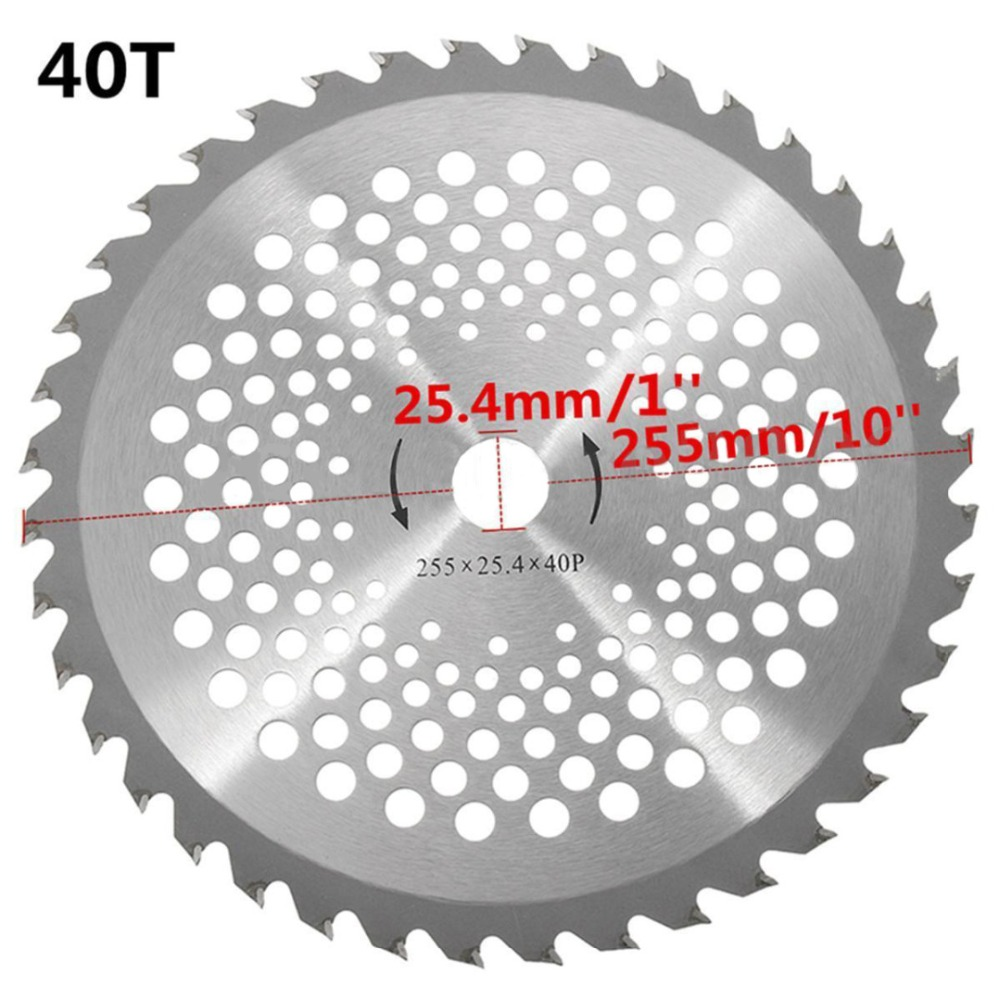 10'' 40T Teeth Brush Cutter Blade Dia. 25.4mm Carbide Tip Blade For Brush Cutter Trimmer Garden Tool Parts
