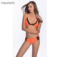 2016 New Swimsuit Summer Style Sexy Bikini Dynamic Bordered Color Bandage Brand Gini Bikinis Set Swimwear