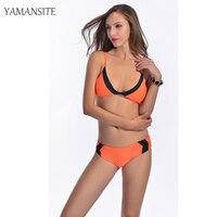 2016 New Swimsuit Summer Style Sexy Bikini Dynamic Bordered Color Bandage Brand Gini Bikinis Set Swimwear