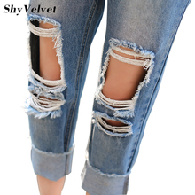 Новое Прибытие 2017 boyfriend стиль отверстие джинсы женщина джинсовый капри женщины винтаж рваные джинсы