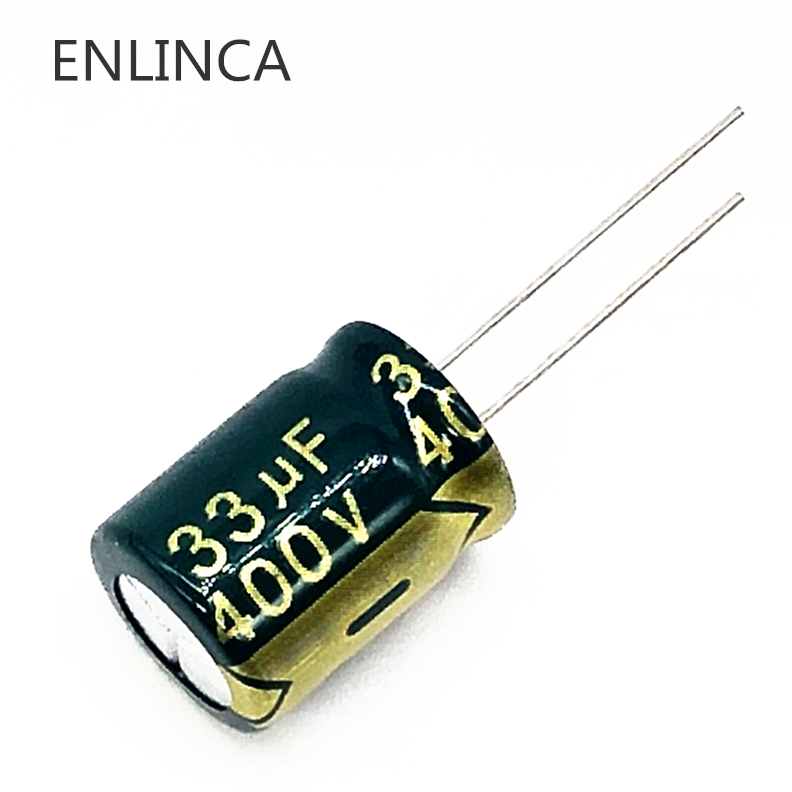 100pcs/lot 33UF high frequency low impedance 400V 33UF aluminum electrolytic capacitor size 13*18 T28 400V33UF-in Capacitors from Electronic Components & Supplies