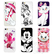 Marie aristocats moda Mickey & Minnie Caso de telefone para Apple iPhone 6 6 s 5 5S SE 5c 4 4S 6 plus tampa de plástico rígido coque