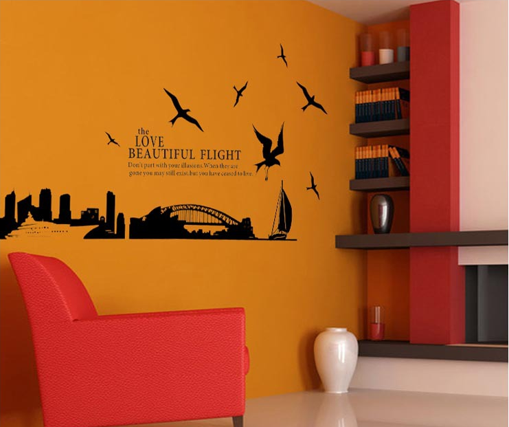 City Silhouettes of Sydney Removable Transparent Film Wall Stickers Decorated Decorative Art Mural Wall Stickers JJ/061