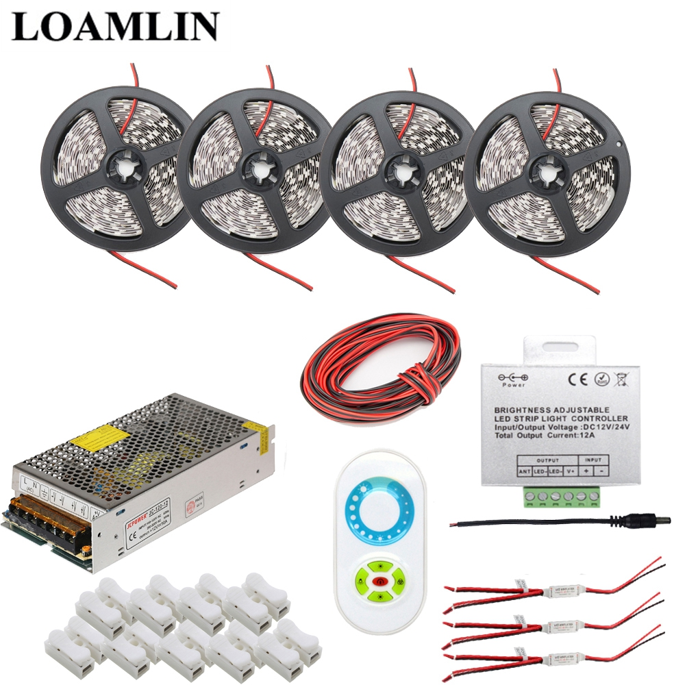 5~20M Led Strip 5050SMD White/Warm White/Red/Blue Flexible Light,Brightness Adjustable Led Strip Controller Power Adapter Kit