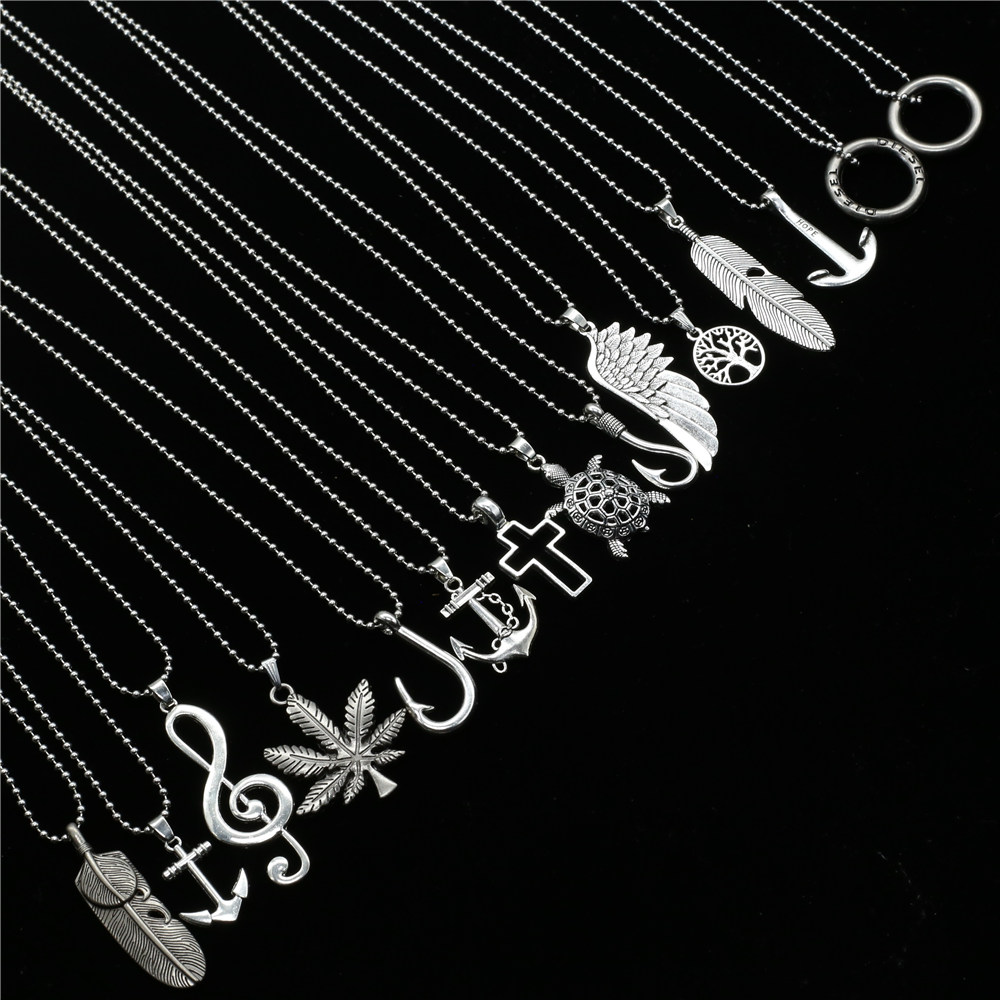 New Colar Punk Hiphop Vintage Hook Music note Feather Cross Long Beads Chain Men Necklace Women Jewelry Collares de moda 2019