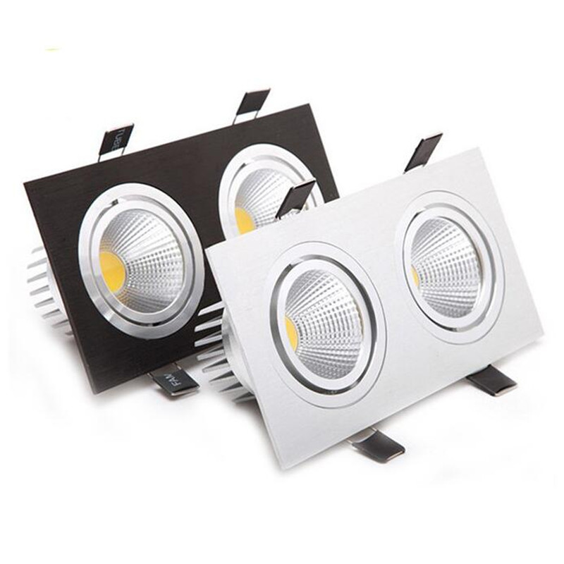 Free Shipping Super Bright Recessed LED Dimmable 2 head Square Downlight COB 20W LED Spo ...