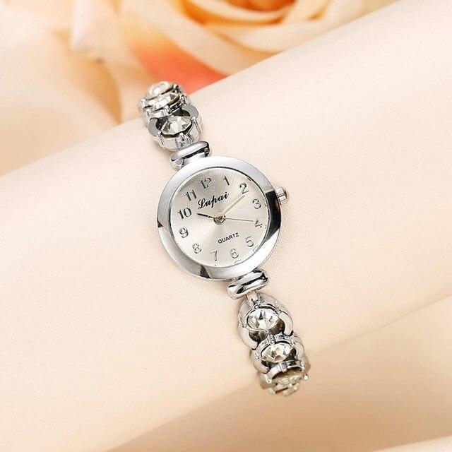Lvpai Women Watch Luxury Fashion Casual Ladies Silver Watch Women Rhinestone Bra