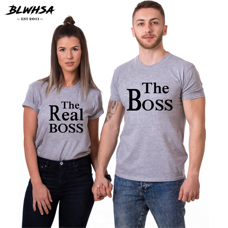 46e17baadf BLWHSA Lovers Couple T Shirt Women Men The Boss Women The Real Boss  Printing Wedding T
