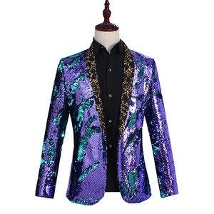 Image 3 - Nowe męskie ubrania płaszcz na co dzień Hip hop Blazer mężczyźni Slim dopasowana sukienka biegaczy Blazers garnitury Streetwear kostiumy sceniczne dla piosenkarki męskie