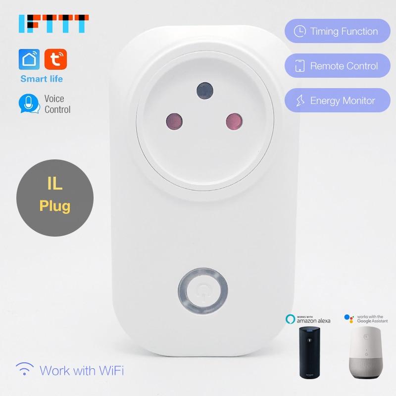 30pcs 16A Israel WIFI Smart IL Plug Power Monitor Smart Socket Wireless Outlet Voice Control Work