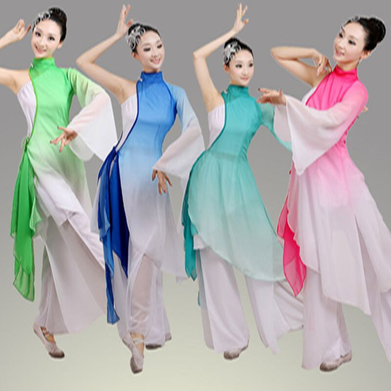 2018 new Girls Chinese perform Costumes Gradient Color tulle fairy dance clothes Classical costumes Stage Performance Clothing