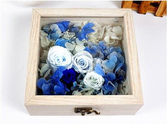 Livraison gratuite (1 pcs/lot) boîte en bois de cadre de fleur fraîche conservée papier de Quilling et Speciment et boîte de plantes succulentes