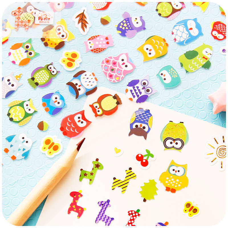 Novelty Owl And Giraffe Decorative Sticker Diary Album Label Sticker DIY Scrapbooking Stationery Stickers spring and fall leaves shape pvc environmental stickers decorative diy scrapbooking keyboard personal diary stationery stickers