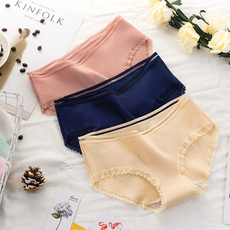 Women's Cotton Panties Female Striped Breathable Briefs Sexy Lace Decoration Underwear Women Plus Size L XL XXL Lingerie Intimates  (3)