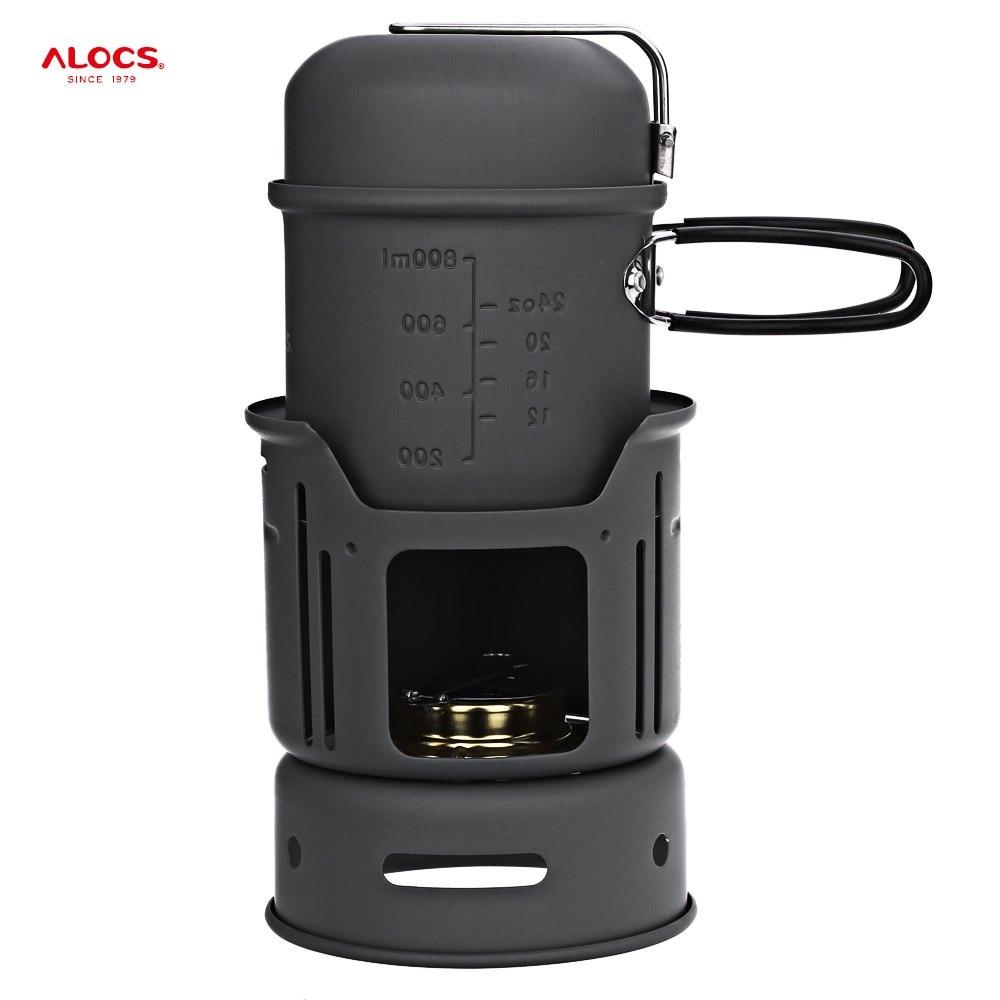 ALOCS CW-C01 En Alliage D'aluminium En Plein Air Ensemble de Vaisselle 1-2 Personne Portable 7 pièces Batterie De Cuisine Ensemble Pour La Randonnée En Plein Air Pique-Nique