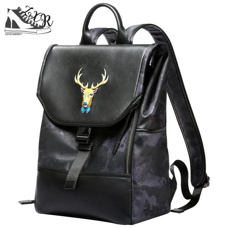 Zuoxiangru New Fashion Animal Leather Deer Handmade Ladies Backpack Leather Laptop Bag Travel Backpack Anti-theft Leisure Bag подвесная люстра lucia tucci firenze 141 5 coffe gold