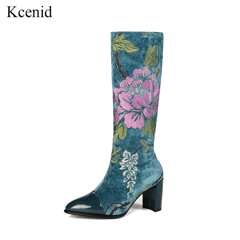 Kcenid Blue yellow booties fashion flowers knee high boots winter warm women shoes high heels embroidered boots plus size 34 43