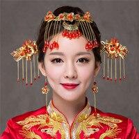 Tradicional Estilo Chinês Phoenix Coroa Borla Do Vintage Enfeite de Cabelo De Noiva Casamento Cocar Penteia o Cabelo Acessórios Tiaras