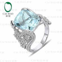 CaiMao 9.6 ct Natural Aquamarine 18KT/750 White Gold 1.52 ct Full Cut Diamond Engagement Ring Jewelry Gemstone