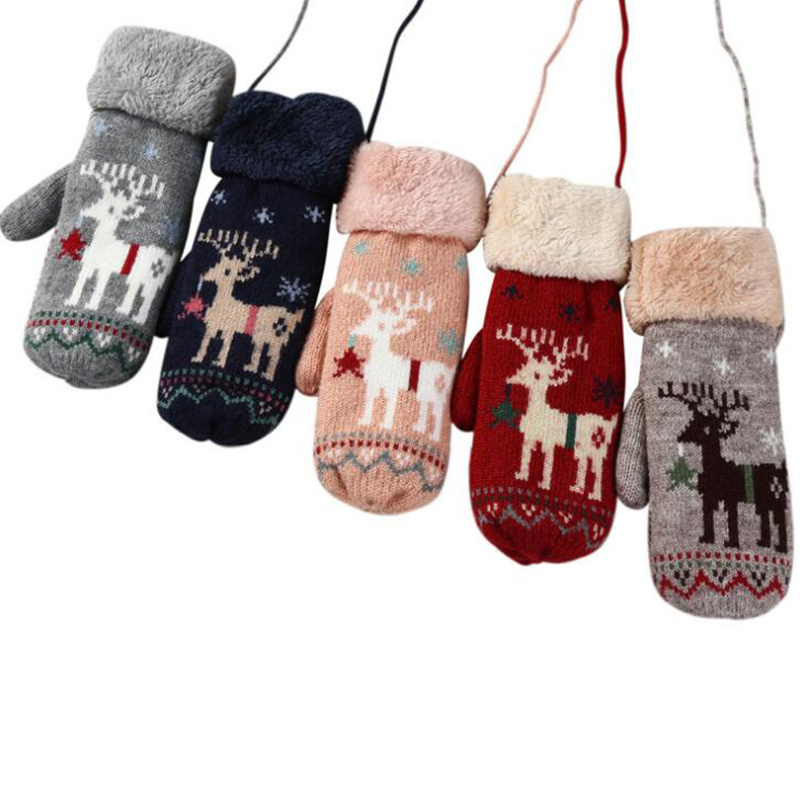 Lovely Ladies Cartoon Deer Wool Knitted Double Thicker Plus