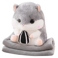 3 in 1 Hamster Hand warmer & Flannel air condition Blanket & soft plush Pillow Sofa decorate Cushion Carton Animal Hamster