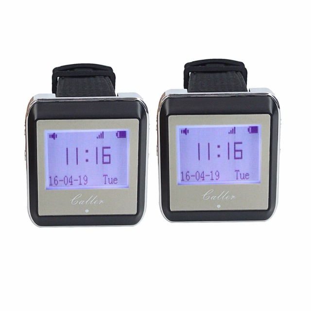 2pcs 433MHz Wireless Watch Pager Calling Receiver Waiter Call Pager Calling System for Restaurant Equipments F4399A