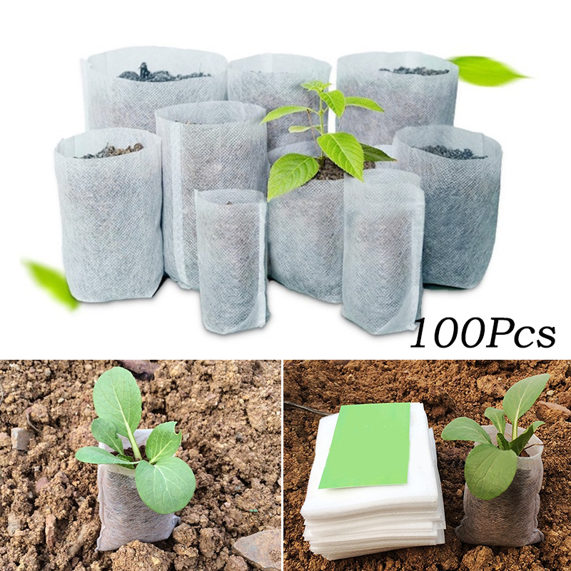 Us 1 0 20 Off Diffe Sizes Biodegradable Non Woven Nursery Bags Plant Grow Fabric Seedling Pots Eco Friendly Aeration Planting In