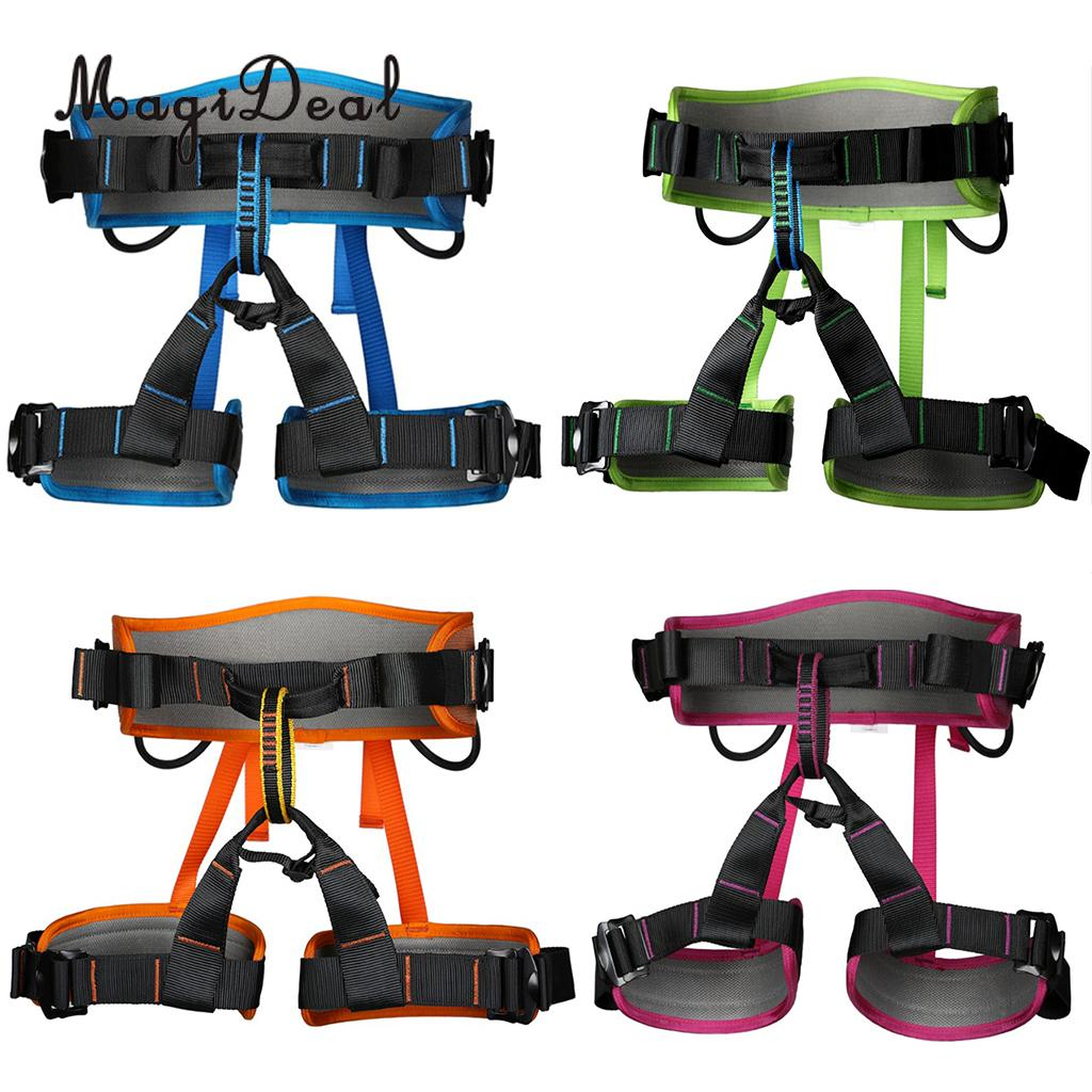 MagiDeal Mountaineering Rock Tree Climbing Harness Seat Sitting Bust Belt Gear 4 Colors for Caving Rescue Safety Rappelling magideal top quality rock climbing safety harness sitting belt rappelling carabiner rope gear set for outdoor hiking safety acce