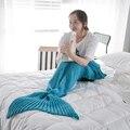 Теплое Мягкое Одеяло «хвост русалки», вязаное одеяло «Русалочка» для взрослых и детей, покрывало на кровать, диван, спальный мешок, 1 шт. - фото