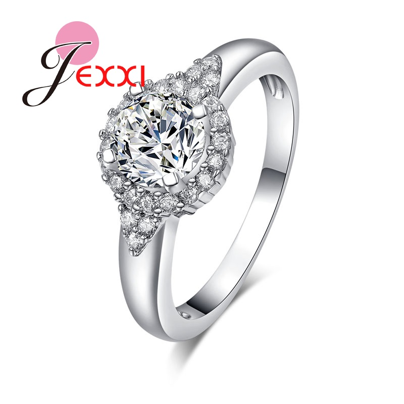 JEXXI New Full Clear Crystal Rhinestone Engagement Ring 925 Sterling Silver Rings For Woman Fashion Jewelry Love Acessories
