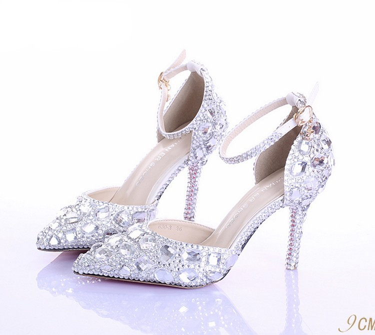 b3460942f95 Sweetness Rhinestone High Heel Glitter Women Pumps Pointed Toe ...