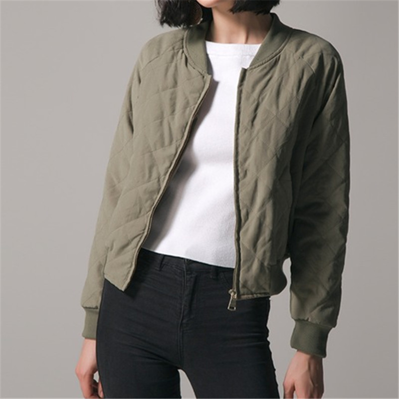 Women Bomber   Jacket   2018 Autumn Winter   Basic     Jacket   Long Sleeve Coats Casual Loose Stand Collar Solid Zipper Outerwear Plus Size