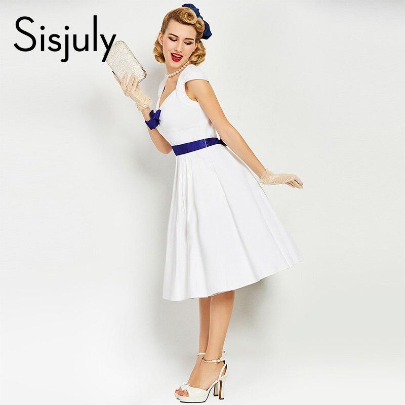 Sisjuly женское винтажное платье-брошь на платье голубого цвета с бантом в стиле ретро летние платья 1950 s без рукавов А-силуэта белые элегантные...