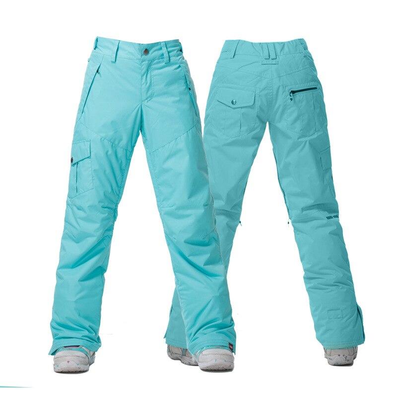 Pantalon de Ski Camouflage Orange bleu rose violet noir blanc Gsou neige femme pantalon de Ski pantalon de Ski imperméable coupe-vent 10K - 3