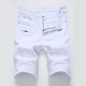 Denim Shorts Jeans Street-Clothing White Summer Black Male Men's New Trend Slim Red Personality