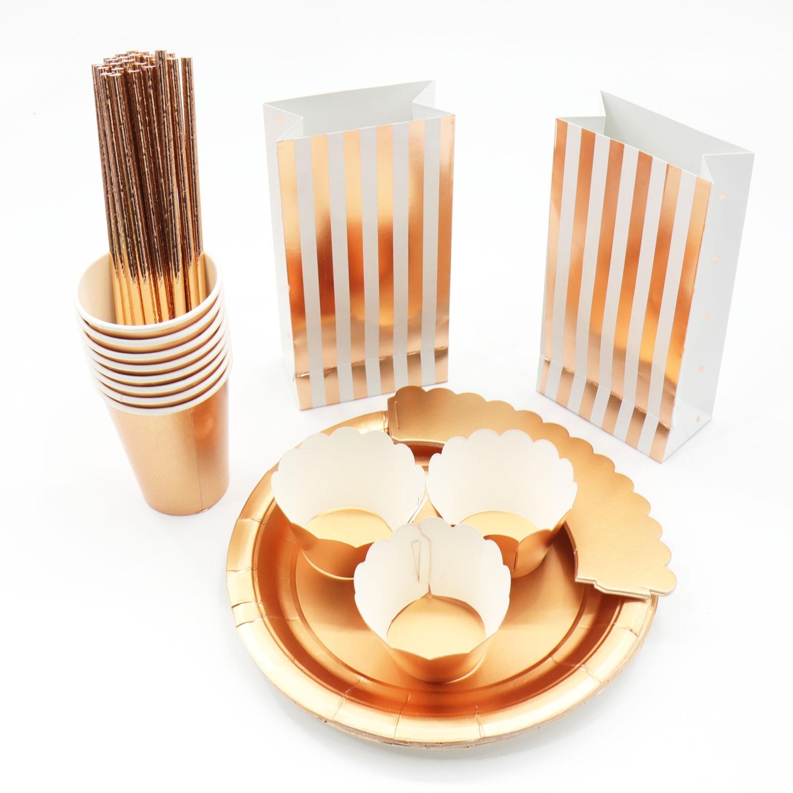 Verjaardag Bruiloft Decoraties Hot stamping Goud Roze Papier Streep Papier Cup Plaat Vlag Voor kids Baby Shower Jongen Meisje gift 2