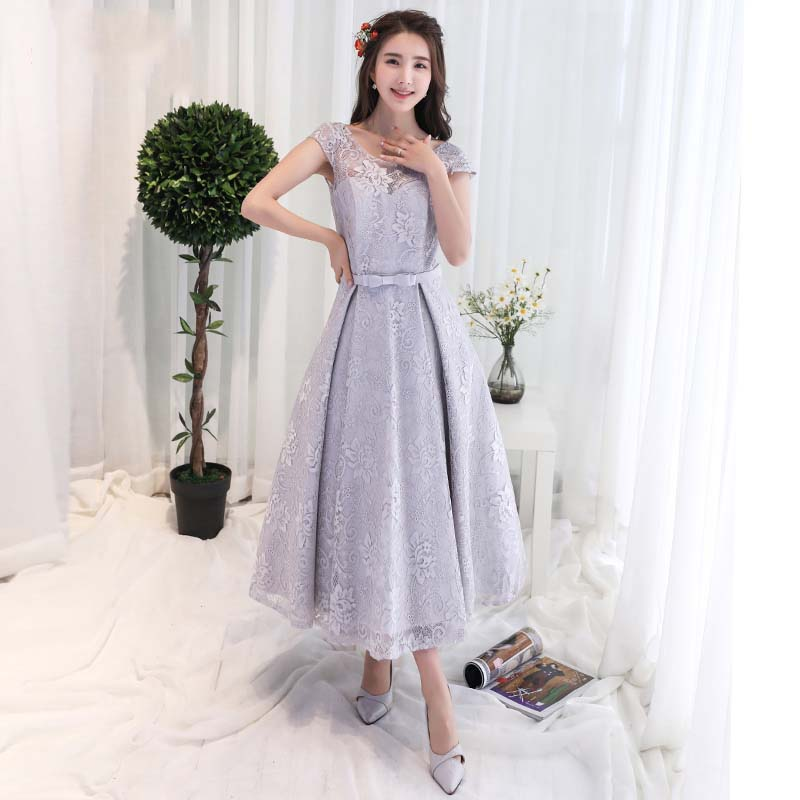 Semi Formal Wedding Gowns: Cap Sleeves Tea Length Lace Evening Party Dress Semi