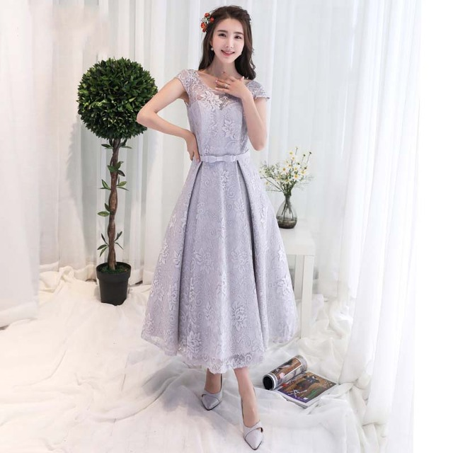 Cap Sleeves Tea Length Lace Evening Party Dress Semi Formal Gown